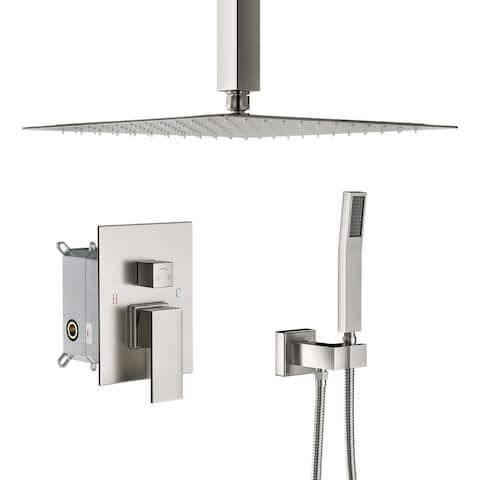 "Lordear Shower System - Ceiling 16"" Rainfall Showerhead Brass Handshower with Pressure-Balanced Valve"