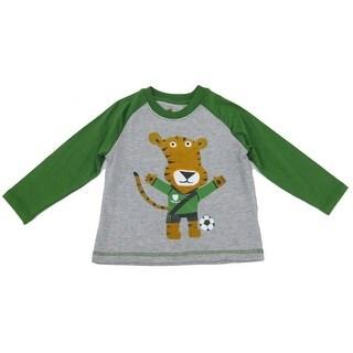 Sprockets Little Boys Green Gray Tiger Print Raglan Long Sleeved T-Shirt 4-7
