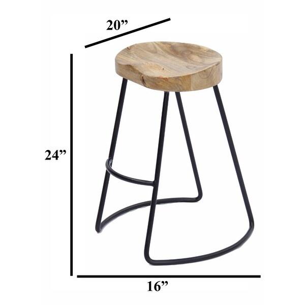 Wooden Saddle Seat Brown Barstool with Tubular Metal Base