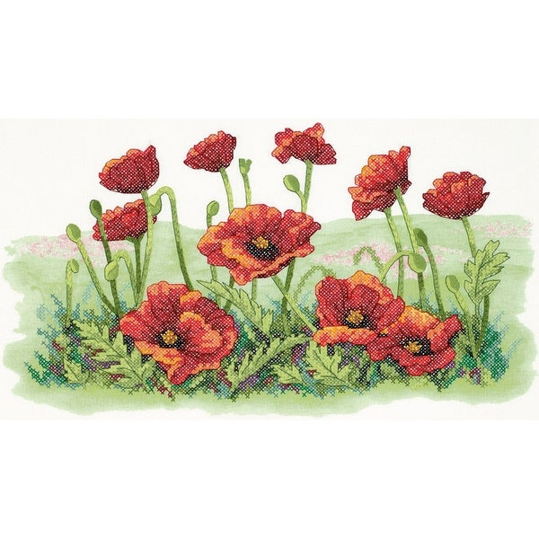 "Field Of Poppies Stamped Cross Stitch Kit-16""X10"""