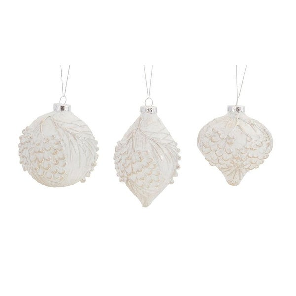 Pack of 12 White Pine Cone Distressed Finish Glass Christmas Ornaments
