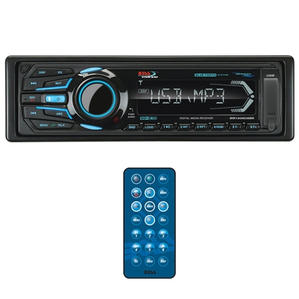 Boss Marine Mechless Single Din Receiver Bluetooth USB/SD Remote Black