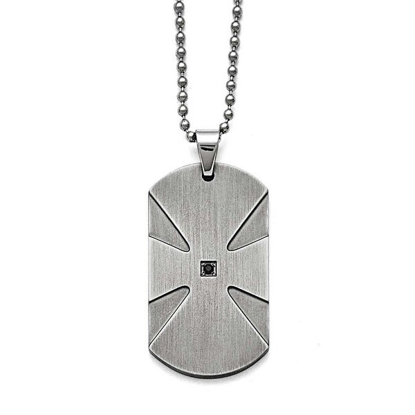 Chisel Stainless Steel Brushed .03ct Black Diamond Dogtag Necklace - 24 in