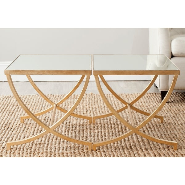 """SAFAVIEH Treasures Maureen Gold/ Mirror Top Accent Table - 22"""" x 18"""" x 17.5"""". Opens flyout."""