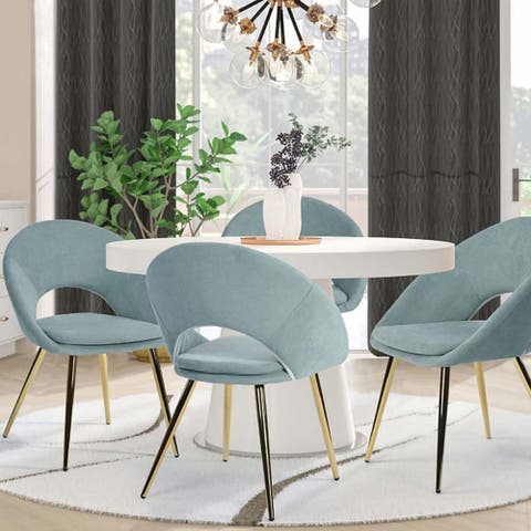 Fabric Dining Chair In Gold Chromed Iron Tube Legs(Set Of 2)