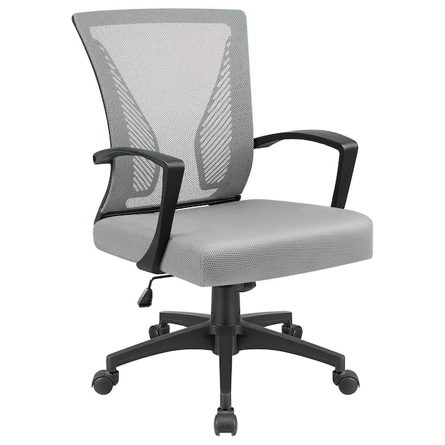 Office Chair Mid Back Swivel Lumbar Support Desk Chair, Computer Ergonomic Mesh Chair with Armrest - Grey