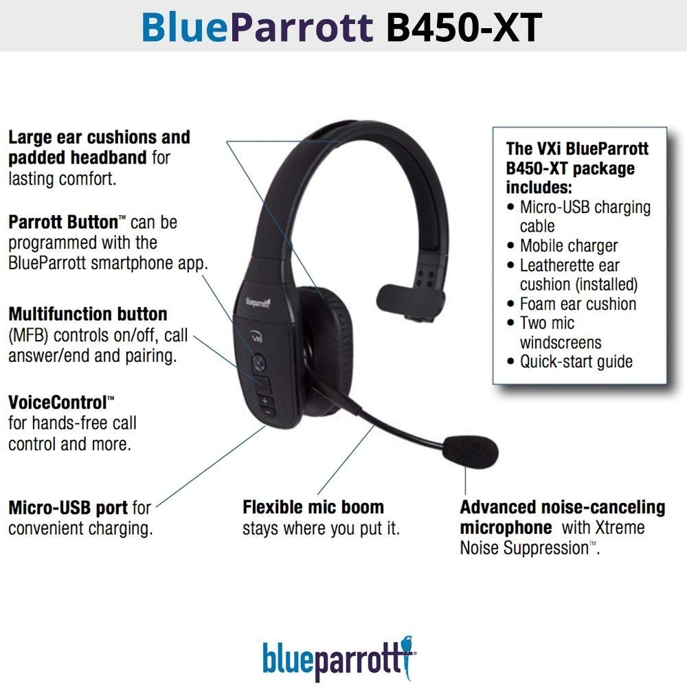 Shop Blueparrott B450 Xt Bluetooth Wirelessheadset With Voice Memo Record Overstock 24216113