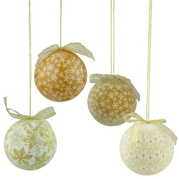6-Piece Brown and White Decoupage Snowflake and Tree Shatterproof Christmas Ball Ornament Set 2.75""