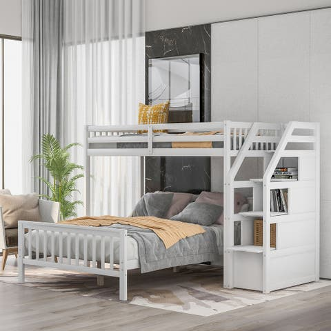 Twin over full loft bed, with storage