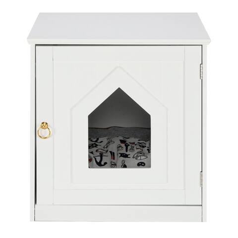 FCH Single Door Cat Litter Box Cat House White/Coffee