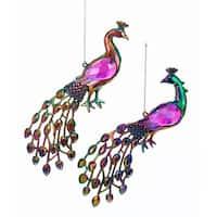 Kurt Adler Jeweled Peacock Birds  Holiday Ornaments Set of 2