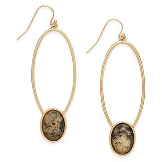 INC International Concepts Gold-Tone Oval Stone Drop Earrings - Gold