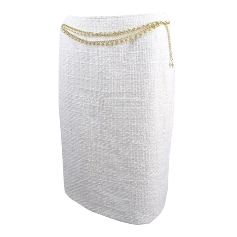 Tahari ASL Women's Chain-Belt Boucle Skirt (14, Ivory White) - Ivory White - 14