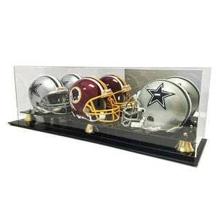 New Triple Football Mini Helmet Display Case with Mirror Back and Black Base
