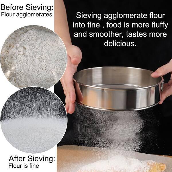 Kitchen Rustproof Round Flour Sieve Fine Mesh Sugar Strainer Sifter Salt Filter