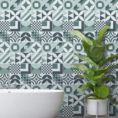 Walplus Melvin Blue Grey Geometric Retro Tile Sticker Peel and Stick