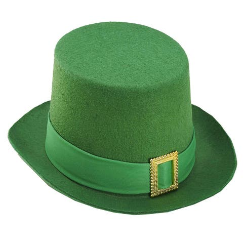 St. Patrick's Green Costume Top Hat w/Buckle Adult
