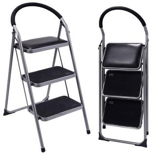 Costway Non-slip 3 Step Ladder Lightweight Folding Stool Platform Heavy Duty Industrial
