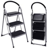 Costway Non-slip 3 Step Ladder Lightweight Folding Stool Platform Heavy Duty Industrial - Black