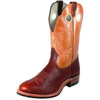 Boulet Western Boot Men Cowboy Leather Roper Cognac Organza Brown