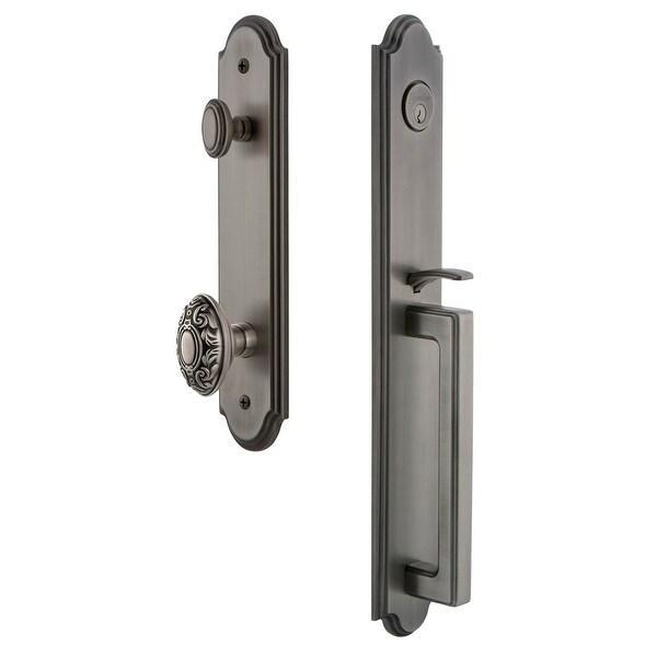 "Grandeur ARCDGRGVC_ESET_238 Arc Solid Brass Rose Keyed Entry Single Cylinder Full Plate ""D"" Grip Handleset with Grande"