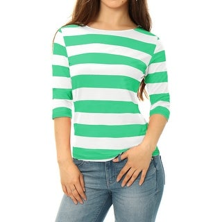 Unique Bargains Women Elbow Sleeves Boat Neck Slim Fit Striped Tee Light Green XS