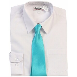 Gioberti Little Boys White Teal Solid Color Shirt Tie Formal 2 Piece Set