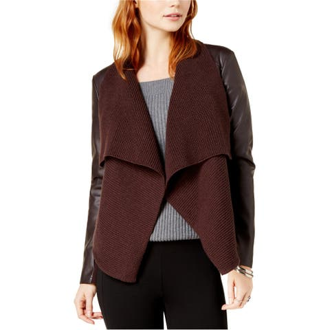 bar III Womens Drape-Front Faux-Leather Jacket, Brown, X-Small