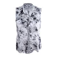 Tahari ASL Women's Stand-Collar Double-Ruffle Blouse (XL, Grey/Black) - Grey/Black - xL