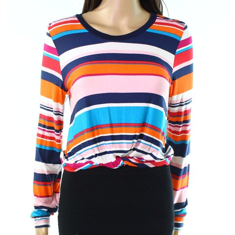 Moa Moa Blue Womens Size Medium M Twist-Detail Striped Knit Top
