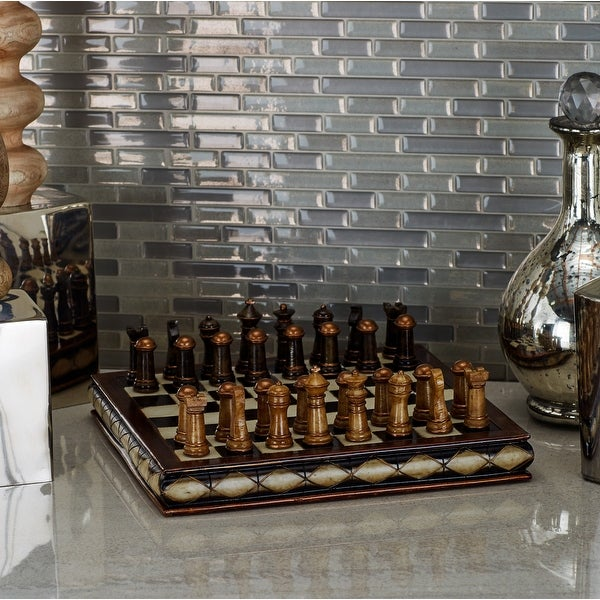 Traditional 3 X 10 Inch Resin Chess Set by Studio 350 - Brown. Opens flyout.