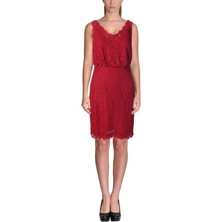 Adrianna Papell Womens Petites Lace Double V Cocktail Dress