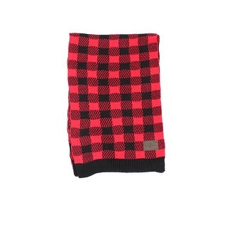 WOOLRICH NEW Red Black Stretch Check Plaid All Over Buffalo Knit Scarf