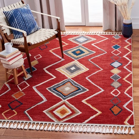 Safavieh Farmhouse Manlia Moroccan Boho Rug with Fringe