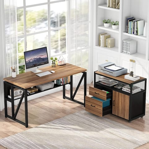 L Shaped Desk with Drawer, Executive Desk and lateral File Cabinet, 2 Piece Home Office Furniture with shel