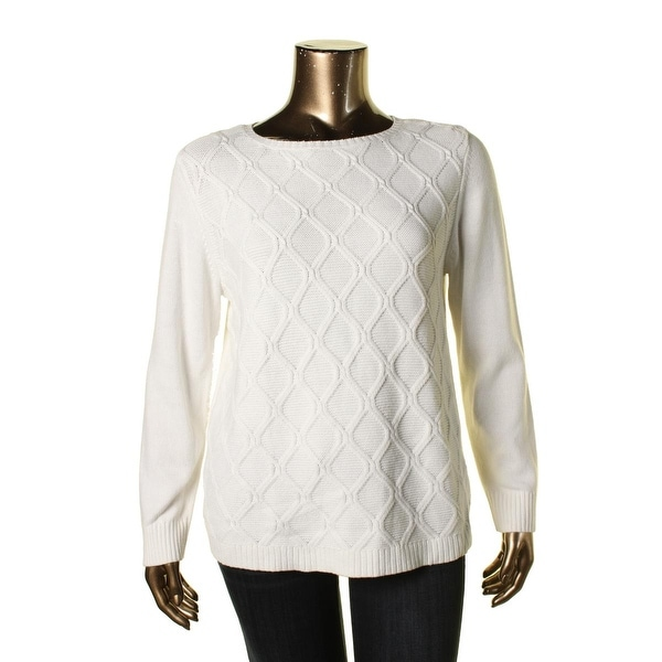 Karen Scott Womens Pullover Sweater Cable Knit Long Sleeves