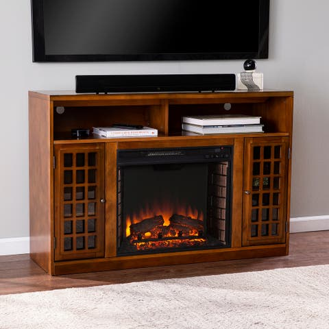 Copper Grove Horne Transitional Brown Wood Electric Fireplace