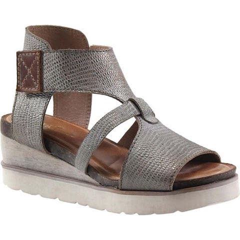 74384568b Diba True Women s Greens Burg Wedge Sandal Pewter Cognac Leather