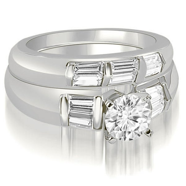 2.10 CT Round & Baguette Cut 3-Stone Diamond Bridal Set in 14KT Gold - White H-I. Opens flyout.