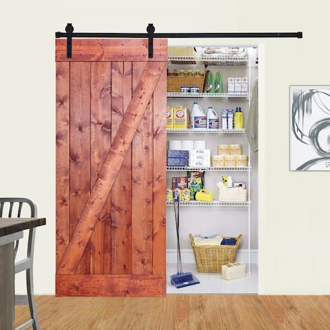 Paneled Wood Barn Door with Installation Hardware Kit - Z2 Series