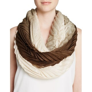Echo Design Womens Brown and Cream Ombre Knife Pleat Infinity Loop Scarf - One Size