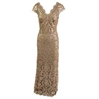 Tadashi Shoji Womens Lace Overlay Prom Evening Dress