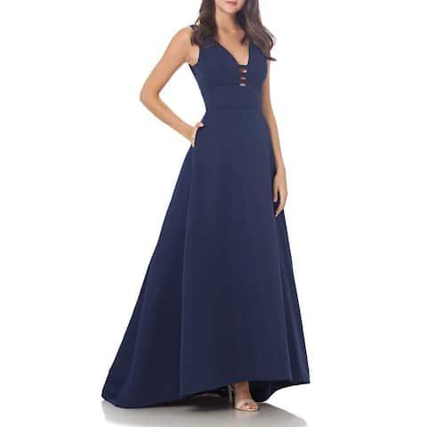 Carmen Marc Valvo Womens Gown Navy Blue Size 8 Ladder V-Neck Pleated