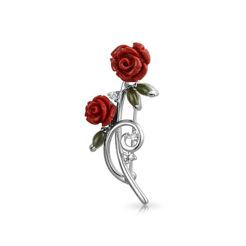 Dainty Red Roses Bouquet CZ Accent Brooch Pin Rhodium Plated Brass