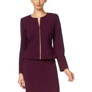Calvin Klein Womens Petites Blazer Zipper Jacket
