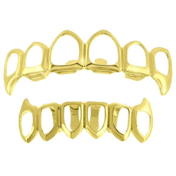 Top & Bottom Grillz Set Open Face With Fangs Design 14K Gold Finish On Sale