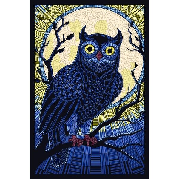 Owl - Paper Mosaic - LP Artwork (Acrylic Wall Clock)