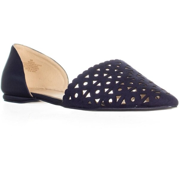 Shop Nine Pointed West Soto Cut Out Pointed Nine Toe Flats, Navy/Navy - - 22664947 15aa82