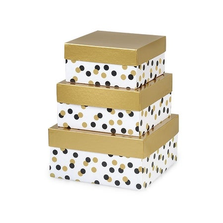 1 Set Golden Holiday Dots Nested Boxes Large 3 Piece Square Gift Boxes W White Interiors In All Occasion Christmas Designs
