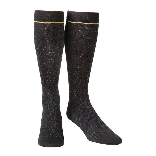 3M Men's Futuro Moderate Compression Dress Socks - Pindot Pattern, Black